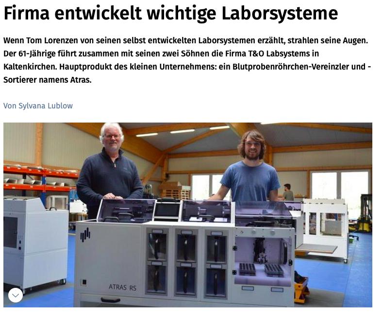 Kieler Nachrichten: Firma entwickelt wichtige Laborsysteme!